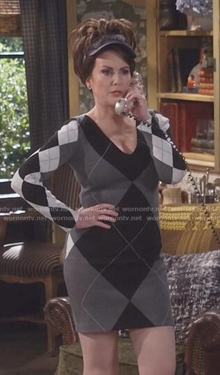Karen's grey argyle sweater dress on Will and Grace