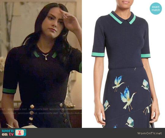 GREY Jason Wu Contrast Stripe Knit Polo worn by Camila Mendes on Riverdale