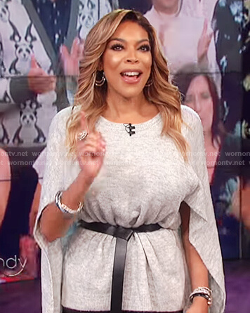 Wendy's grey cape top on The Wendy Williams Show