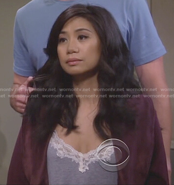 Eve's grey lace trim cami top on 9JKL