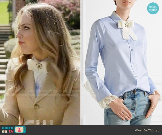 Gucci Bow-embellished lace-trimmed cotton-poplin shirt worn by Fallon Carrington (Elizabeth Gillies) on Dynasty