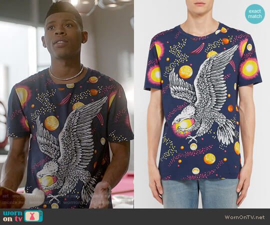 Gucci Space Eagle Printed Cotton-Jersey T-Shirt worn by Hakeem Lyon (Bryshere Y. Gray) on Empire