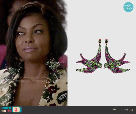 Gucci Embroidered Bird Earrings worn by Taraji P. Henson on Empire