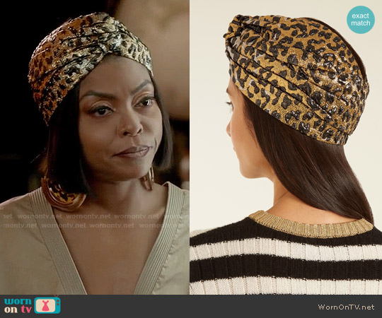Gucci Metallic Leopard-Print Turban worn by Cookie Lyon (Taraji P. Henson) on Empire