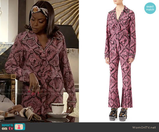 Gucci Romain Printed Silk Shirt and Pants worn by Cookie Lyon (Taraji P. Henson) on Empire