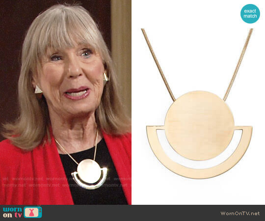 Halogen Horizon Disc Pendant Necklace worn by Marla Adams on The Young & the Restless
