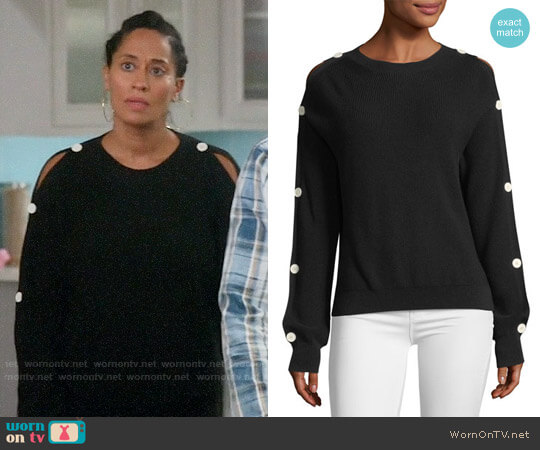 Helmut Lang Button-Sleeve Knit Sweater worn by Tracee Ellis Ross on Blackish