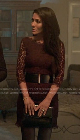 Hermoine's purple lace dress on Riverdale