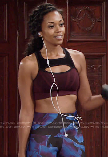 Hilary's floral leggings and burgundy sports bra on The Young and the Restless