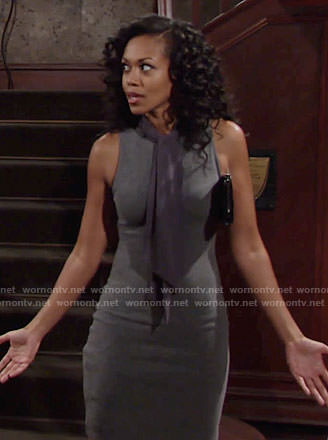 Hilary's grey tie-neck dress on The Young and the Restless