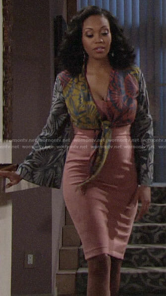 Hilary's pink suede dress and floral cropped blouse on The Young and the Restless