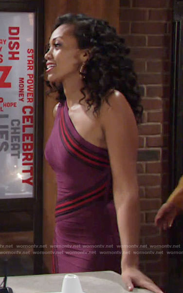 Hilary's purple one-shoulder bandage dress with stripes on The Young and the Restless