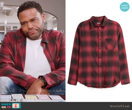 H&M Plaid Flannel Shirt in Red / Black Plaid  worn by Anthony Anderson on Blackish
