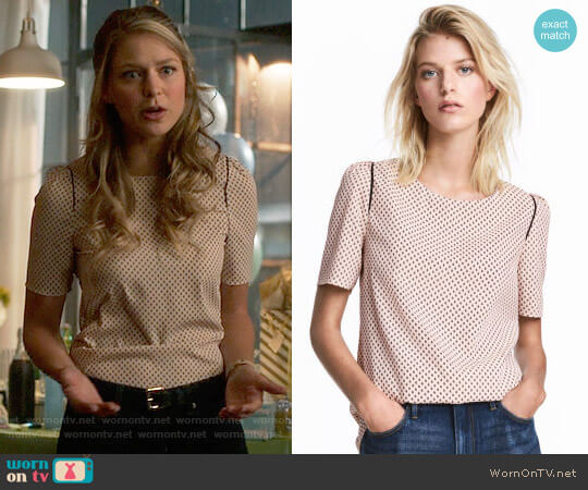 H&M Woven Top in Powder Pink / Patterned worn by Melissa Benoist on Supergirl