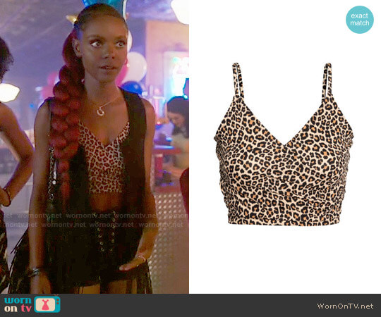 H&M Wrap Camisole Top in Leopard Print worn by Ashleigh Murray on Riverdale