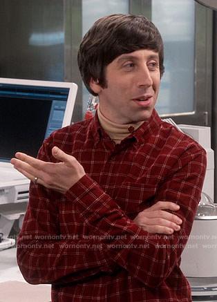 Howard's red checked shirt on The Big Bang Theory