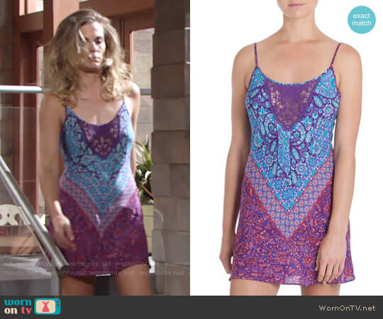 In Bloom by Jonquil Chemise in Aubergine / Turq Print worn by Gina Tognoni on The Young & the Restless