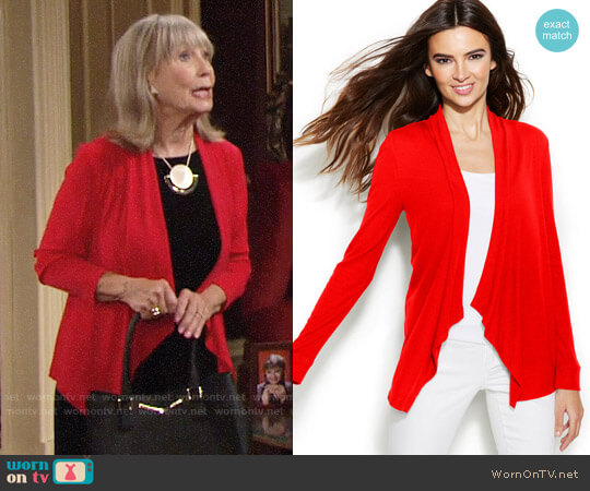 INC International Concepts Draped Cardigan worn by Marla Adams on The Young & the Restless