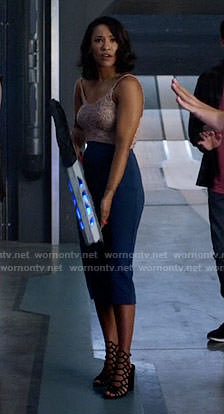 Iris's knit crop top and blue pencil skirt on The Flash