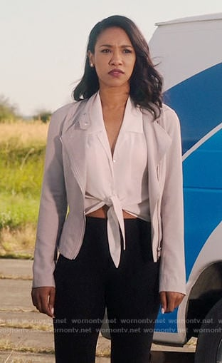 Iris's white tie-front top and grey jacket on The Flash