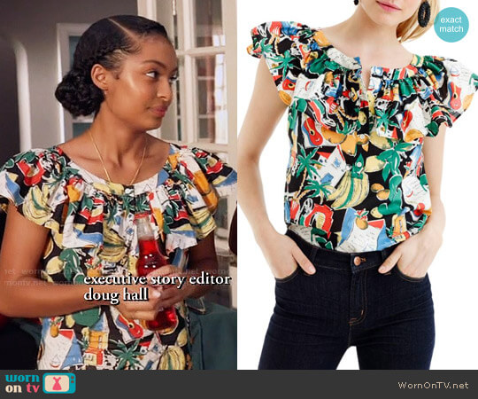 J. Crew Postcard Print Ruffle Top worn by Yara Shahidi on Blackish