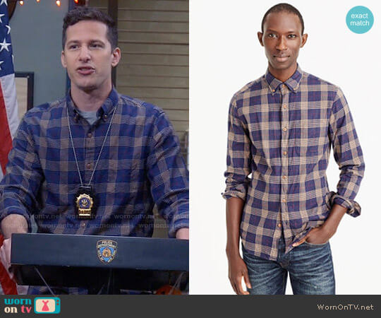 J. Crew Brushed Flannel Shirt in Plaid in Navy Sand worn by Jake Peralta (Andy Samberg) on Brooklyn Nine-Nine