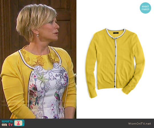 J. Crew Jackie Tipped Cardigan worn by Kayla Brady (Mary Beth Evans) on Days of our Lives