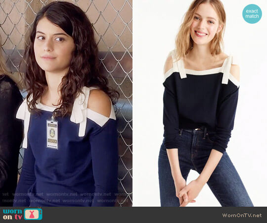 J. Crew Merino Wool Cold-Shoulder Sweater in Navy Parchment worn by Sofia Black D'Elia on The Mick