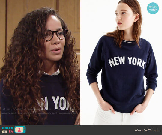 J. Crew New York Sweatshirt worn by Lexie Stevenson on The Young & the Restless