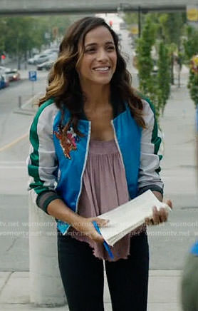 Jacinda's bomber jacket with bird and tiger embroidery on Once Upon a Time