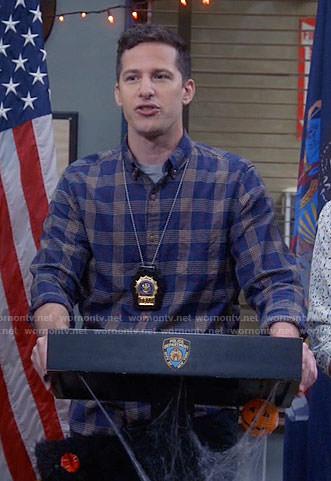 Jake's navy plaid shirt on Brooklyn Nine-Nine