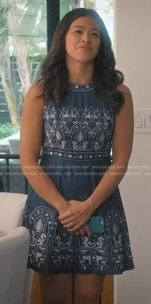 Jane's blue embroidered dress on Jane the Virgin