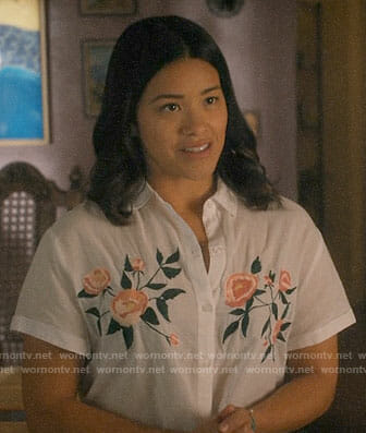 Jane's white shirt with embroidered flowers on Jane the Virgin