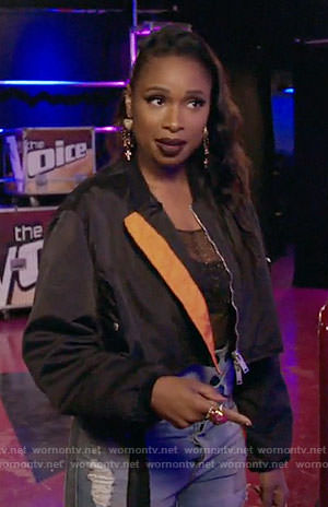 Jennifer Hudson's black and orange bomber jacket on The Voice