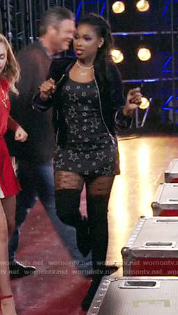 Jennifer Hudson's star print dress and velvet bomber jacket on The Voice