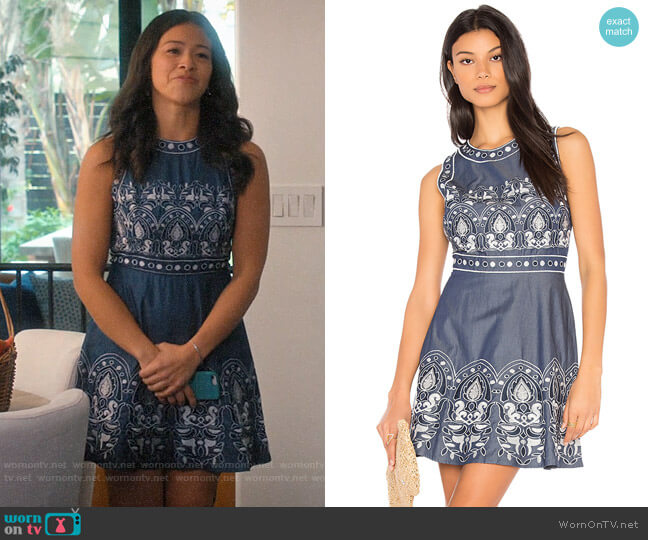 JOA Embroidered Fit and Flare Dress worn by Jane Villanueva (Gina Rodriguez) on Jane the Virgin