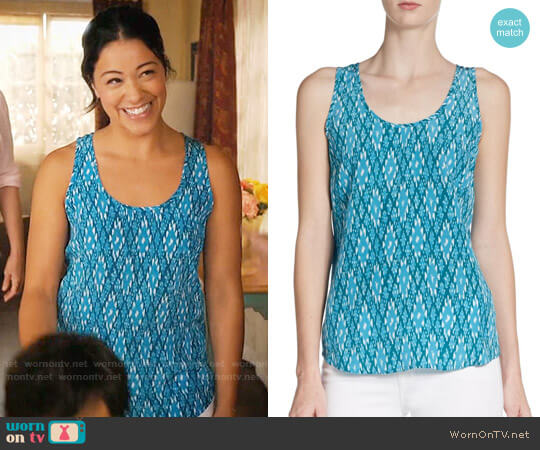 Joie Rain Tank in Peacock Teal Diamond worn by Jane Villanueva (Gina Rodriguez) on Jane the Virgin