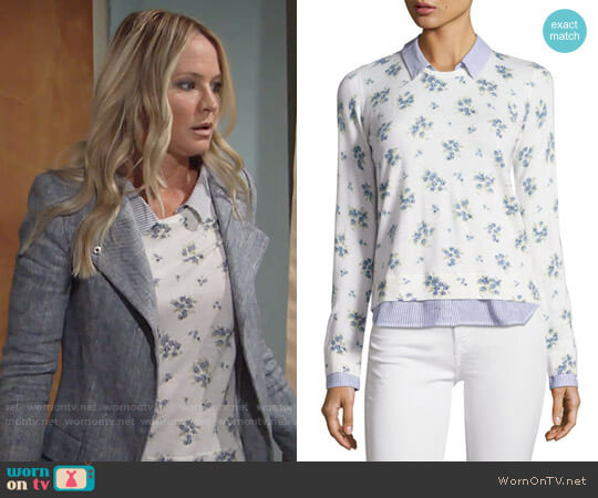 Joie Rika Floral Sweater worn by Sharon Collins (Sharon Case) on The Young & the Restless