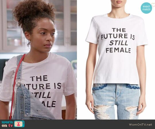 Jonathan Simkhai The Future Is Still Female Pima Cotton Tee worn by Zoey Johnson (Yara Shahidi) on Blackish