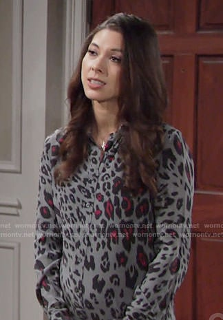 Juliet's grey leopard print shirtdress on The Young and the Restless