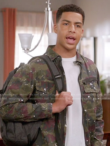 Junior's camo print jacket on Black-ish