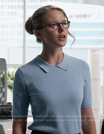 Kara's blue polo sweater on Supergirl
