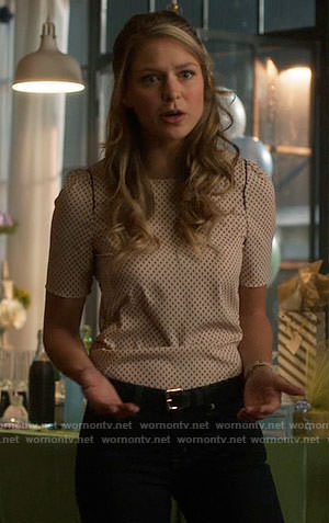 Kara's pink dotted print top on Supergirl