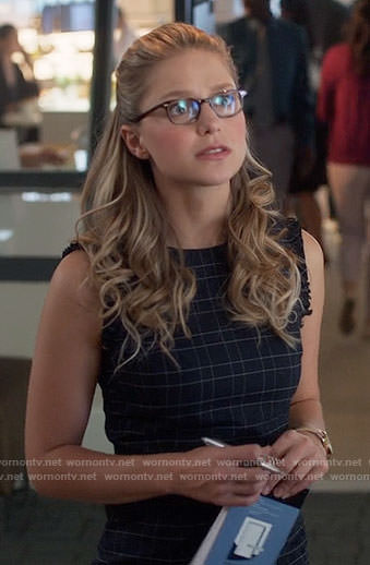 Kara's plaid sleeveless dress on Supergirl