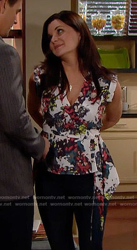 Katie's printed wrap top on The Bold and the Beautiful