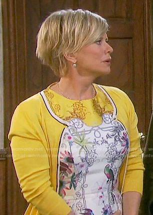 Kayla's yellow and white printed dress on Days of our Lives