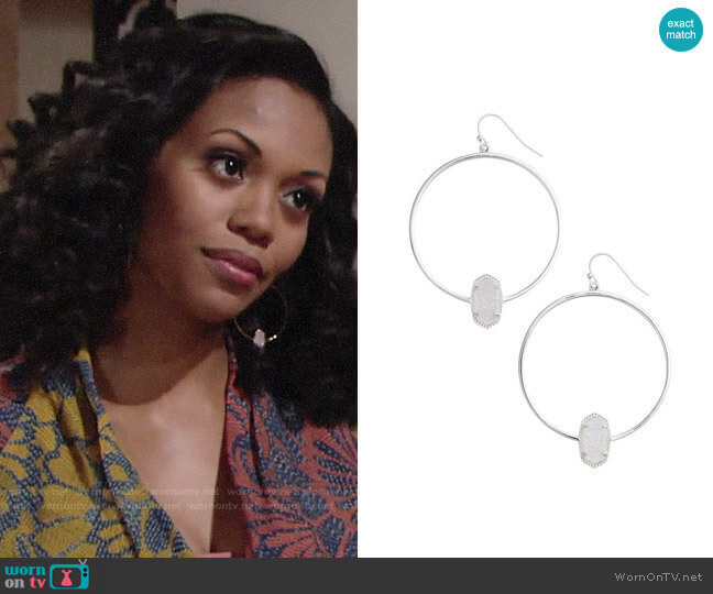 Kendra Scott Elora Earrings worn by Hilary Curtis (Mishael Morgan) on The Young & the Restless