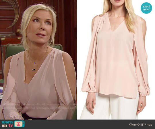 Kobi Halperin Caroline Top worn by Katherine Kelly Lang on The Bold & the Beautiful