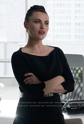 Lena's black boatneck dress on Supergirl