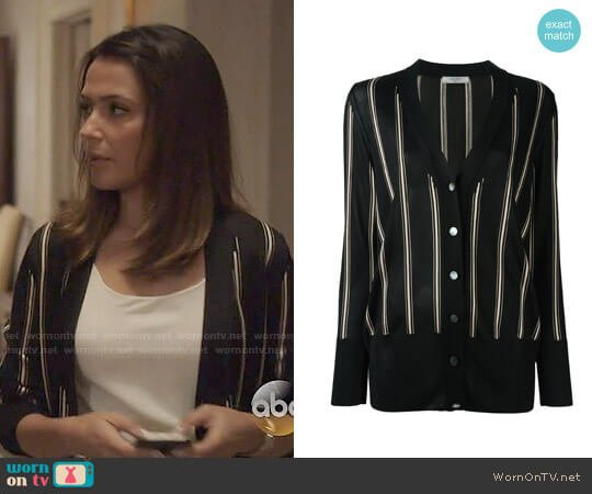Lanvin Striped Knitted Cardigan worn by Italia Ricci on Designated Survivor